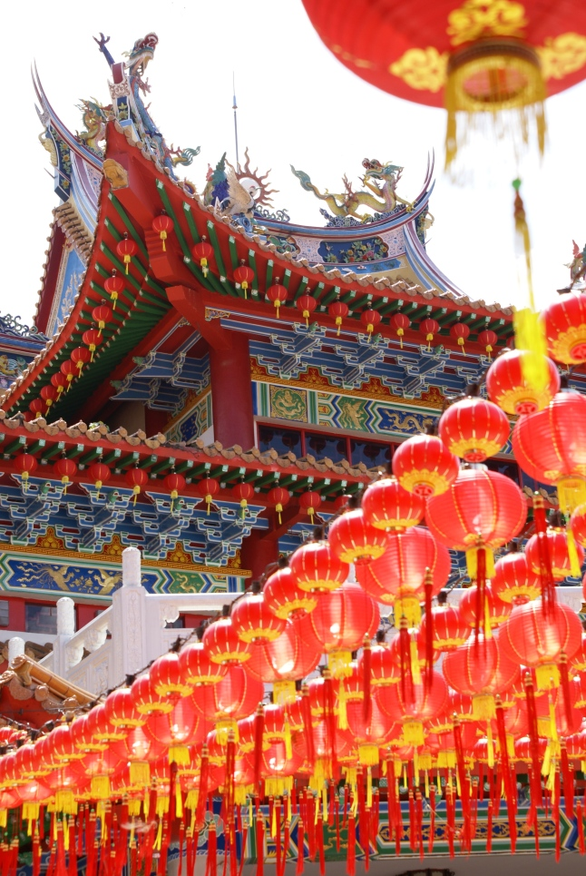 Red lanterns at Thean Hou Temple for Chinese New Year