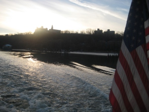 Cruising down the Hudson River with the star spangled banner